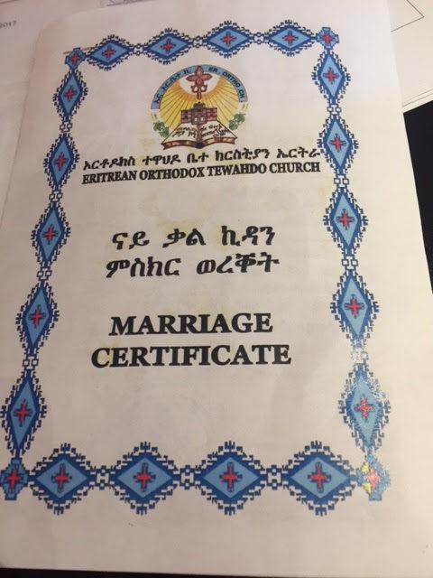 eine eritreische Heiratsurkunde