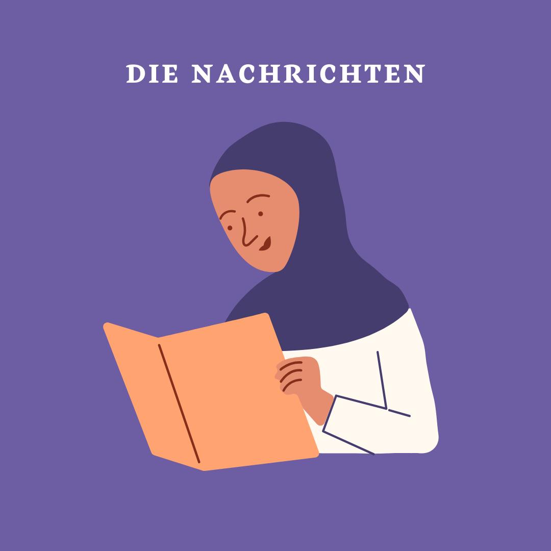 Der Nachrichtenüberblick, zu sehen ist die Illustration einer Frau, die sich an ihre Laptop arbeitet